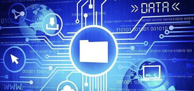 Database Management Challenges Concept: File Folder against blue background